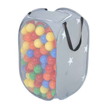 KiddyMoon kids balls set bin hamper storage mesh carrying case, Grey: Yellow/ Green/ Blue/ Red/ Orange