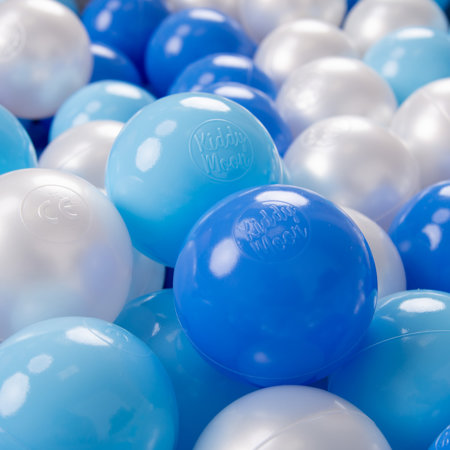 KiddyMoon plastic balls for children ∅ 7cm/2.75in colourful certified, Baby Blue/Blue/Pearl