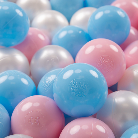 KiddyMoon plastic balls for children ∅ 7cm/2.75in colourful certified, Baby Blue/Light Pink/Pearl
