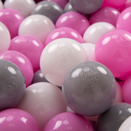 KiddyMoon plastic balls for children ∅ 7cm/2.75in colourful certified, Grey/White/Pink
