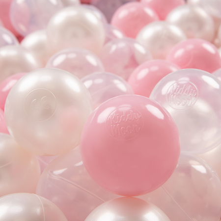 KiddyMoon plastic balls for children ∅ 7cm/2.75in colourful certified, Light Pink/Pearl/Transparent