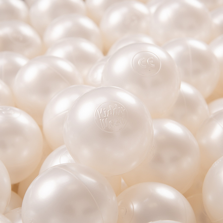 KiddyMoon plastic balls for children ∅ 7cm/2.75in colourful certified, Pearl