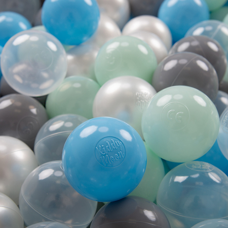 KiddyMoon plastic balls for children ∅ 7cm/2.75in colourful certified, Pearl/Grey/Transparent/Baby Blue/Mint