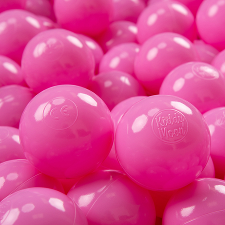 KiddyMoon plastic balls for children ∅ 7cm/2.75in colourful certified, Pink
