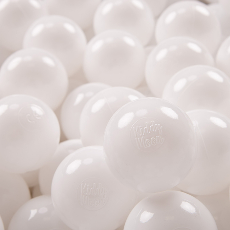 KiddyMoon plastic balls for children ∅ 7cm/2.75in colourful certified, White