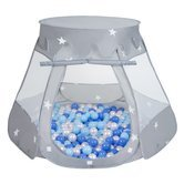 Play Tent Castle House Pop Up Ballpit Shell Plastic Balls For Kids, Grey:Babyblue/Blue/Pearl