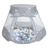 Play Tent Castle House Pop Up Ballpit Shell Plastic Balls For Kids, Grey:Grey/White/Babyblue