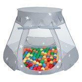 Play Tent Castle House Pop Up Ballpit Shell Plastic Balls For Kids, Grey:Yellow-Green-Blue-Red-Orange