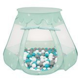 Play Tent Castle House Pop Up Ballpit Shell Plastic Balls For Kids, Mint:Grey/White/Turquoise