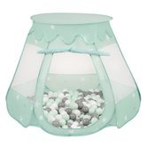 Play Tent Castle House Pop Up Ballpit Shell Plastic Balls For Kids, Mint:White/Grey/Mint
