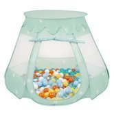 Play Tent Castle House Pop Up Ballpit Shell Plastic Balls For Kids, Mint: White/ Yellow/ Orange/ Babyblue/ Turquoise
