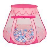 Play Tent Castle House Pop Up Ballpit Shell Plastic Balls For Kids, Pink:Babyblue-Powder Pink-Pearl