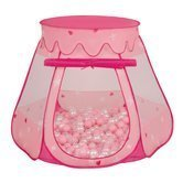 Play Tent Castle House Pop Up Ballpit Shell Plastic Balls For Kids, Pink:Powder Pink-Pearl-Transparent