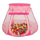 Play Tent Castle House Pop Up Ballpit Shell Plastic Balls For Kids, Pink:Yellow-Green-Blue-Red-Orange