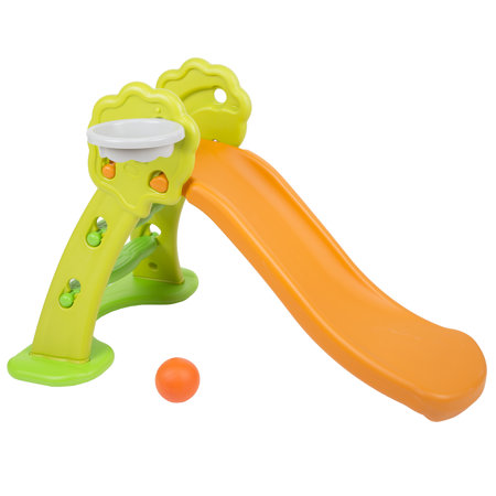 safe colourful kids plastic slide with basket, Orange-Green-Green