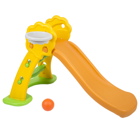 safe colourful kids plastic slide with basket, Orange-Yellow-Green