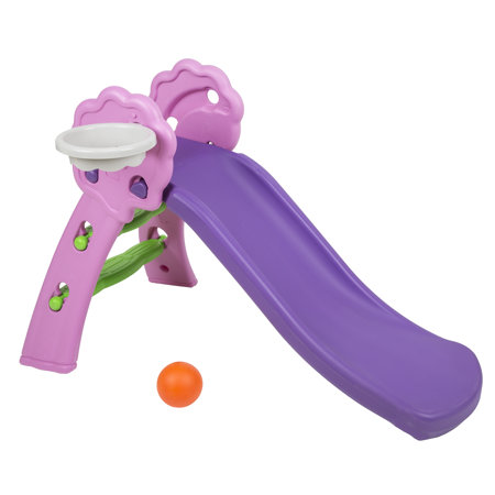 safe colourful kids plastic slide with basket, Purple-Pink-Green