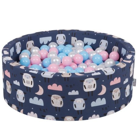 KiddyMoon Baby Ball pit with Balls ∅ 7cm / 2.75in Certified, Sheep-Dark blue: Baby blue/ Powderpink/ Pearl