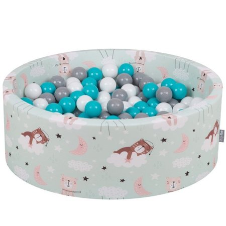 KiddyMoon Baby Ballpit with Balls ∅ 7cm / 2.75in Certified, Bears-Green: Grey/ White/ Turquoise