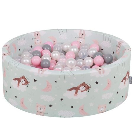 KiddyMoon Baby Ballpit with Balls 7cm / 2.75in Certified, Bears-Green:Pearl/Grey/Transparent/Powderpink