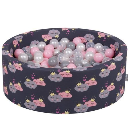 KiddyMoon Baby Ballpit with Balls 7cm /  2.75in Certified, Clouds-Dblue: Pearl/ Grey/ Transparent/ Powderpink