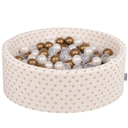 KiddyMoon Baby Ballpit with Balls ∅ 7cm / 2.75in Certified, Crown, Ecru-Gold:Gold/Transparent/Pearl