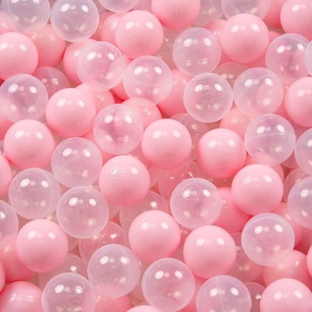 KiddyMoon Baby Ballpit with Balls 7cm / 2.75in Certified, Crown, Ecru-Gold:Light Pink/Transparent