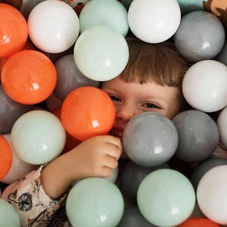 KiddyMoon Baby Ballpit with Balls 7cm / 2.75in Certified, Fox, Fox-Green:Orange/Mint/Grey/White