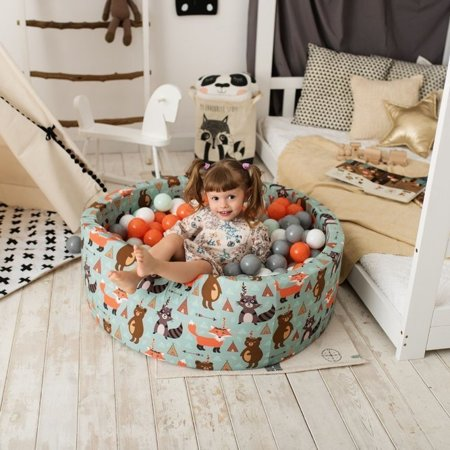 KiddyMoon Baby Ballpit with Balls 7cm /  2.75in Certified, Fox, Fox-Green: Orange/ Silver/ Gold/ White