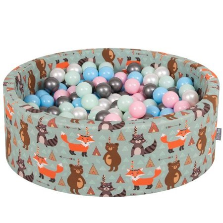 KiddyMoon Baby Ballpit with Balls ∅ 7cm / 2.75in Certified, Fox, Fox-Green:Pearl/Powder Pink/Babyblue/Mint/Silver