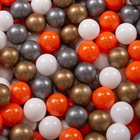 KiddyMoon Baby Ballpit with Balls ∅ 7cm / 2.75in Certified, Foxes: Orange/ Silver/ Gold/ White