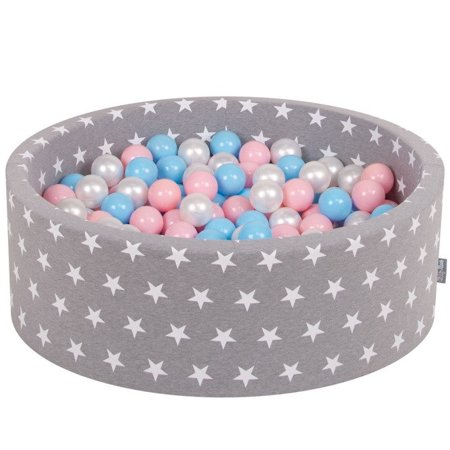 KiddyMoon Baby Ballpit with Balls ∅ 7cm / 2.75in Certified, Grey Stars: Baby Blue/Light Pink/Pearl