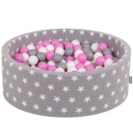 KiddyMoon Baby Ballpit with Balls ∅ 7cm / 2.75in Certified, Grey Stars: Grey/White/Pink