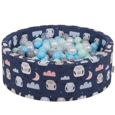 KiddyMoon Baby Ballpit with Balls 7cm /  2.75in Certified, Sheep-Dblue: Pearl/ Grey/ Transparent/ Babyblue/ Mint