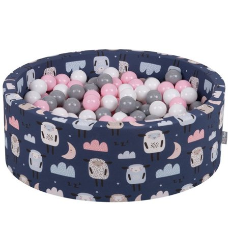 KiddyMoon Baby Ballpit with Balls 7cm /  2.75in Certified, Sheep-Dblue: White/ Grey/ Powderpink