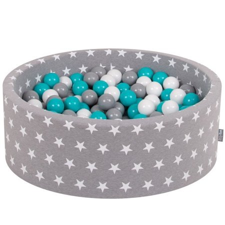 KiddyMoon Baby Ballpit with Balls 7cm /  2.75in Certified, Stars, Grey Stars:  Grey/ White/ Turquoise