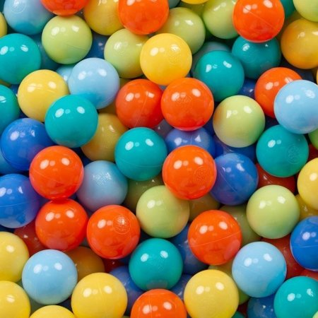 KiddyMoon Baby Ballpit with Balls ∅ 7cm / 2.75in Certified, Stars, Grey Stars: Light Green/ Orange/ Turquoise/ Blue/ Baby blue/ Yellow