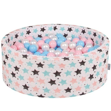 KiddyMoon Baby Ballpit with Balls 7cm /  2.75in Certified, Stars, Light Beige:  Baby Blue/ Light Pink/ Pearl