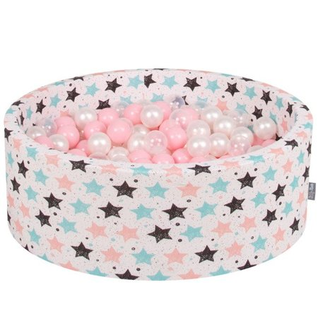 KiddyMoon Baby Ballpit with Balls 7cm /  2.75in Certified, Stars, Light Beige:  Light Pink/ Pearl/ Transparent
