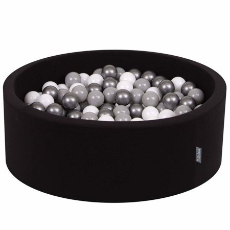 KiddyMoon Baby Foam Ball Pit 90x40 with Balls 7cm/ 2.75in Certified, Black: White/ Grey/ Light Turquoise