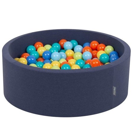 KiddyMoon Baby Foam Ball Pit 90x40 with Balls 7cm/ 2.75in Certified, Dark Blue: Grey/ White/ Turquoise