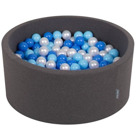 KiddyMoon Baby Foam Ball Pit 90x40 with Balls ∅ 7cm/2.75in Certified, Dark Grey:Baby Blue/Blue/Pearl