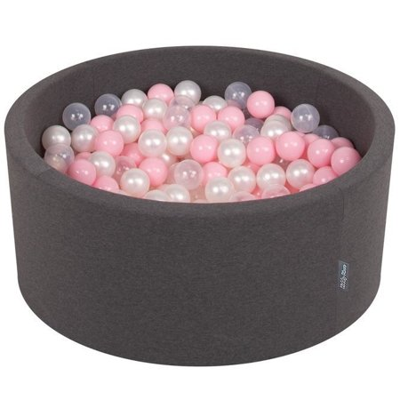 KiddyMoon Baby Foam Ball Pit 90x40 with Balls 7cm/ 2.75in Certified, Dark Grey: Light Pink/ Pearl/ Transparent