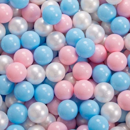 KiddyMoon Baby Foam Ball Pit 90x40 with Balls 7cm/ 2.75in Certified, Light Grey: Baby Blue/ Light Pink/ Pearl