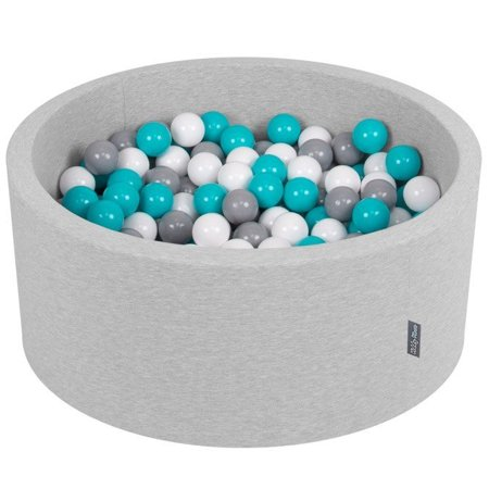 KiddyMoon Baby Foam Ball Pit 90x40 with Balls ∅ 7cm/2.75in Certified, Light Grey:Grey/White/Turquoise