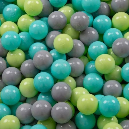 KiddyMoon Baby Foam Ball Pit 90x40 with Balls ∅ 7cm/2.75in Certified, Light Grey:Light Green/Light Turquoise/Grey