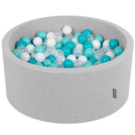 KiddyMoon Baby Foam Ball Pit 90x40 with Balls ∅ 7cm/2.75in Certified, Light Grey:Light Turquoise/White/Transparent/Turquoise