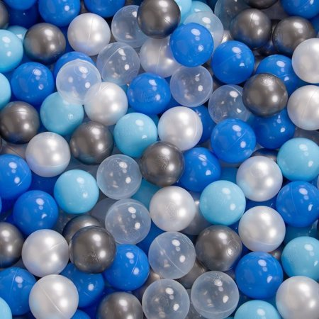 KiddyMoon Baby Foam Ball Pit 90x40 with Balls 7cm/2.75in Certified, Light Grey:Pearl/Blue/Baby Blue/Transparent/Silver