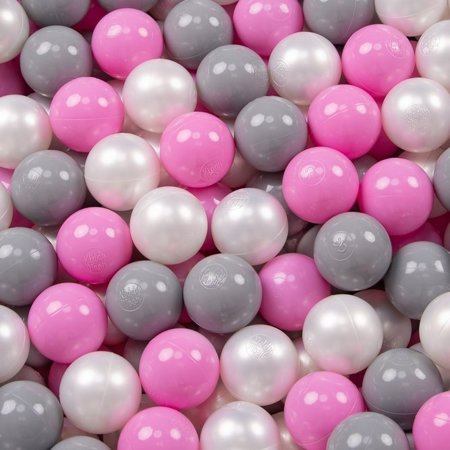 KiddyMoon Baby Foam Ball Pit 90x40 with Balls ∅ 7cm/2.75in Certified, Light Grey/Pearl/Grey/Pink