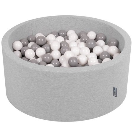 KiddyMoon Baby Foam Ball Pit 90x40 with Balls 7cm/ 2.75in Certified, Light Grey: White/ Grey